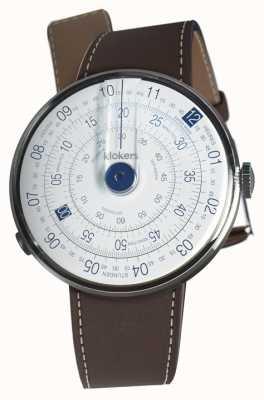 Klokers Klok 01 bleu tête de montre brun chocolat unique sangle KLOK-01-D4.1+KLINK-01-MC4
