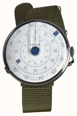 Klokers Klok 01 bleu montre lichen vert textile unique sangle KLOK-01-D4.1+KLINK-03-MC2
