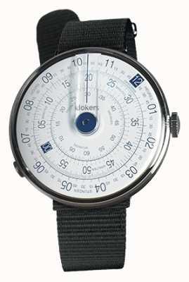 Klokers Klok 01 bleu tête de montre en cuir noir sangle unique KLOK-01-D4.1+KLINK-03-MC3