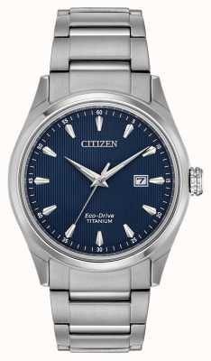 Citizen Bracelet homme en titane argenté à cadran bleu BM7360-82L