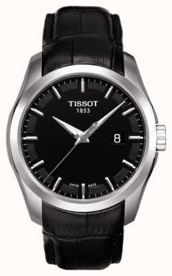 Tissot Mens coutourier cadran noir bracelet en cuir noir date T0354101605100