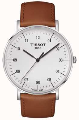 Tissot Mens everytime grand cadran blanc bracelet en cuir marron T1096101603700