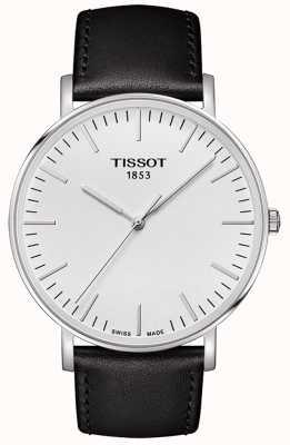 Tissot Mens everytime grand cadran blanc bracelet en cuir noir T1096101603100