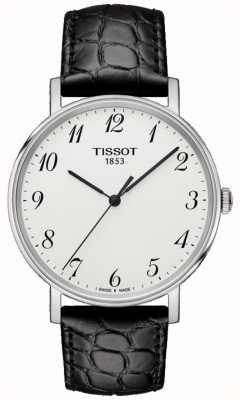 Tissot Mens everytime cadran en cuir noir moyen argent T1094101603200