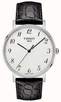 Tissot Cadran argenté en cuir noir moyen pour homme à chaque fois T1094101603200