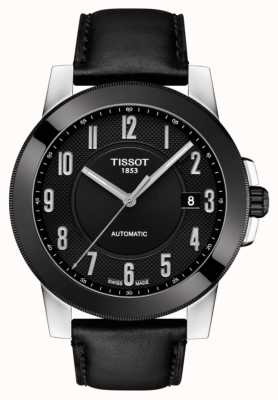 Tissot Mens gentleman swissmatic bracelet en cuir noir T0984072605200