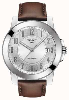 Tissot Bracelet homme en cuir marron swissmatic T0984071603200