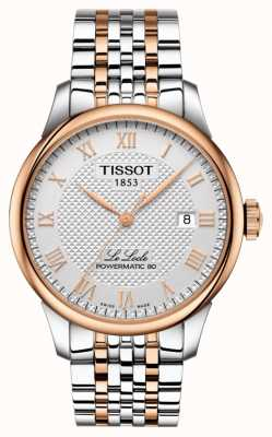 Tissot Mens le locle powermatic 80 deux tons en plaqué or rose T0064072203300