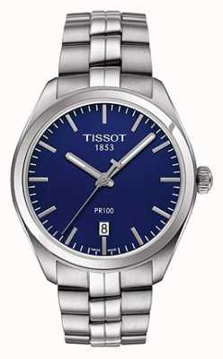 Tissot Bracelet homme pr100 en acier inoxydable cadran bleu T1014101104100