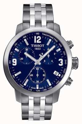 Tissot Mens prc 200 chronographe cadran bleu deux tons T0554171104700