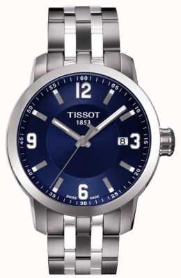 Tissot Mens prc 200 bleu cadran chronographe deux tons bracelet T0554101104700