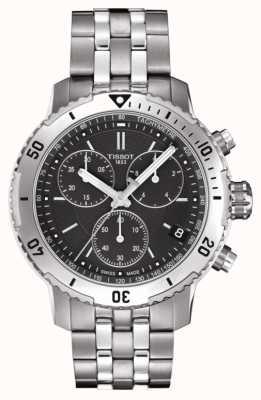 Tissot Mens prs 200 noir cadran chronographe bracelet en acier inoxydable T0674171105101