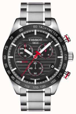 Tissot Mens prs 516 chronographe cadran noir en acier inoxydable bracelet T1004171105101