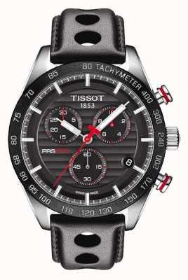 Tissot Mens prs 516 chronographe cadran noir bracelet en cuir T1004171605100