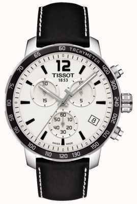 Tissot Mens quickster chronograph cadran blanc bracelet en cuir noir T0954171603700