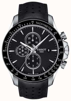 Tissot Mens v8 swissmatic chronographe cadran noir en cuir noir T1064271605100