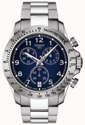 Tissot Mens v8 quartz chronographe bleu cadran en acier inoxydable T1064171104200