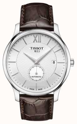 Tissot Mens tradition automatique petite seconde cadran en cuir marron T0634281603800