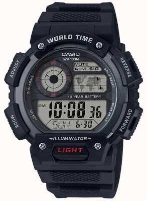 Casio Chronographe d'alarme d'heure du monde AE-1400WH-1AVEF