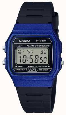 Casio Alarme chronographe bleu et noir F-91WM-2AEF