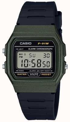Casio Alarme chronographe bleu et noir F-91WM-3AEF