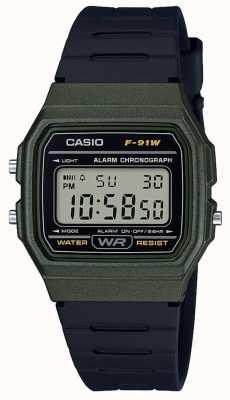Casio Alarme chronographe boîtier vert et noir F-91WM-3AEF