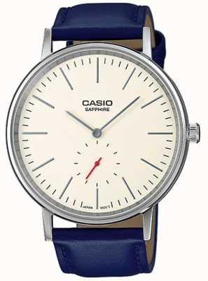 Casio Saphir cristal crème cadran bleu bracelet en cuir véritable LTP-E148L-7AEF