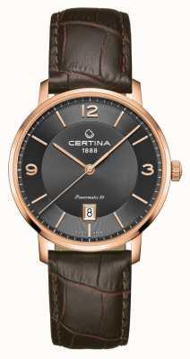 Certina Ds caimano powermatic 80 bracelet en cuir marron cadran gris C0354073608700