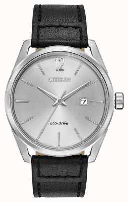 Citizen Cadran argenté date cadran argenté bracelet en cuir noir BM7410-01A