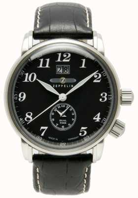 Zeppelin Compteur double date grande date cadran noir cadran noir cuir 7644-2