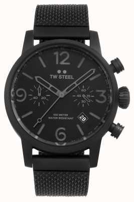 TW Steel Maverick calibre chronographe bracelet maille noire cadran noir MB33