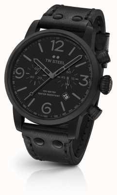 TW Steel Maverick calibre chronographe bracelet en cuir noir cadran noir MS114