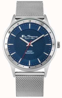 Ben Sherman Bracelet en maille argenté bleu marine sunray BS150