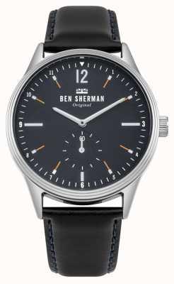 Ben Sherman Cadran bleu marine mat et bracelet en cuir noir WB015UB