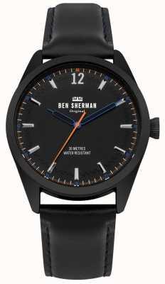 Ben Sherman Cadran noir brossé et bracelet en cuir noir WB019BB