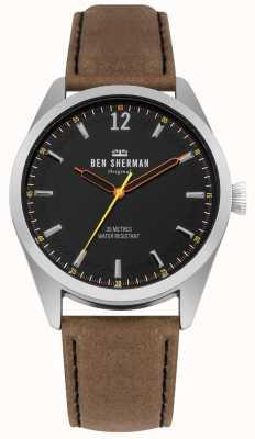 Ben Sherman Cadran noir brossé et bracelet en cuir beige WB019BT