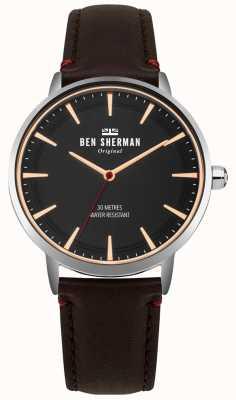 Ben Sherman Cadran noir mat et bracelet en cuir marron WB020BR