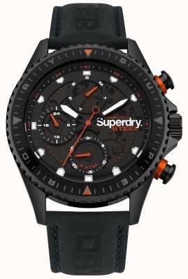 Superdry Officier en acier jour et date sous cadrans bracelet en cuir noir SYG220BB