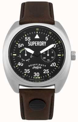 Superdry Scout aviateur date et jour affichage bracelet noir SYG229BR