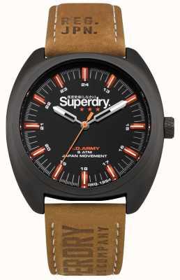 Superdry Bracelet d'infanterie en cuir marron SYG228TB