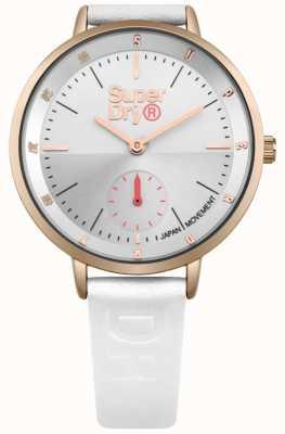 Superdry Mesdames ascot secondes sous cadran bracelet en cuir blanc SYL159WRG