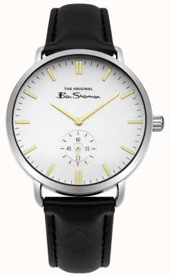 Ben Sherman Cadran blanc or marqueurs secondes sous cadran bracelet en cuir noir BS009WB