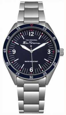 Ben Sherman Cadran bleu marine Boîtier et bracelet en acier inoxydable argenté BS007USM
