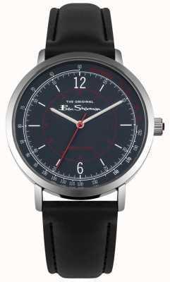 Ben Sherman Cadran bleu tachymètre bracelet en cuir noir BS006UB