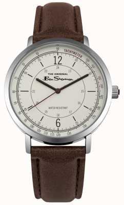 Ben Sherman Cadran crème tachymètre bracelet en cuir marron BS006WBR