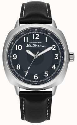 Ben Sherman Cadran bleu boîtier en acier inoxydable bracelet en cuir noir BS003UB