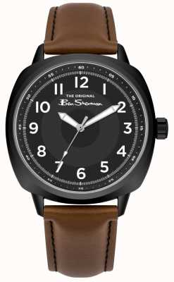 Ben Sherman Cadran noir boîtier en acier inoxydable bracelet en cuir marron BS003BT