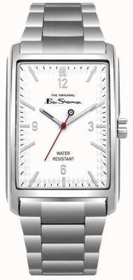 Ben Sherman Cadran rectangle blanc boîtier et bracelet en acier inoxydable BS013WSM