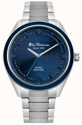 Ben Sherman Cadran à motifs bleu boîtier et bracelet en acier inoxydable BS005USM