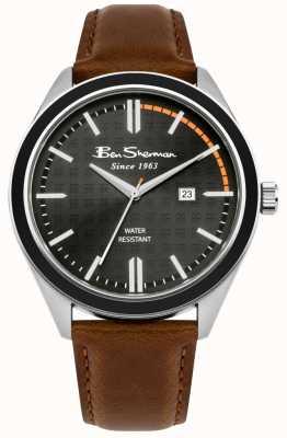 Ben Sherman Cadran à motifs noir avec affichage de la date et bracelet en cuir beige BS004BT